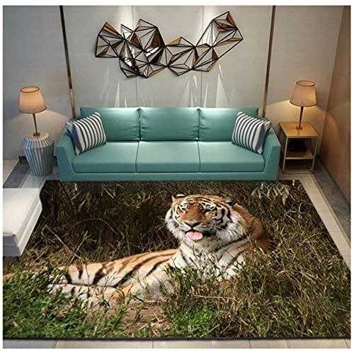 PHhomedecor Tiger 3D Printed Carpet Non Slip Entrance Door Kitchen Bathroom Mat Large Mat Baby Play Area Rugs Cute Kids Room Floor Mat 140X200cm