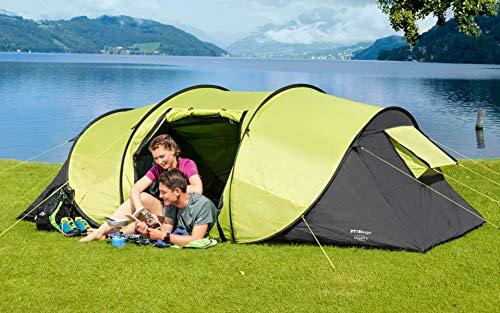 BERGER Wurfzelt Calgary 4 Personenzelt Camping Trekking Zelten WS3000cm Schnellaufbau Festival Zelt