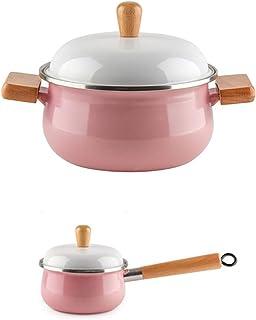 l.e.i. Enamel Pot Small Milk Pot Set,Thick Pot Stew Pot with Lid,Baby Food Supplement Pot with Wooden Handle
