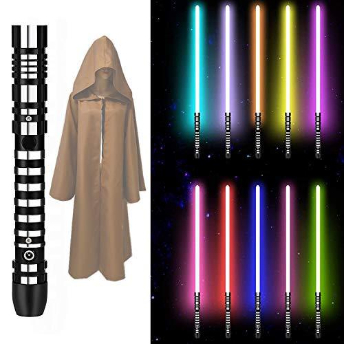 WYB Sabre de luz de LED, sabre de luz com espada brilhante de 1/1 RGB com som recarregável, cabo de metal, réplica de sabre de luz, 16 cores alternáveis com Tabard, presente de brinquedo adulto e infantil, P