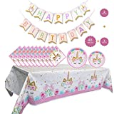Unicorn Party Supplies Set - Unicorn Plates and Napkins Table Cover And Unicorn Banner, Magical Unicorn Birthday Party Decorations for Girls and Baby Shower - Serves 16