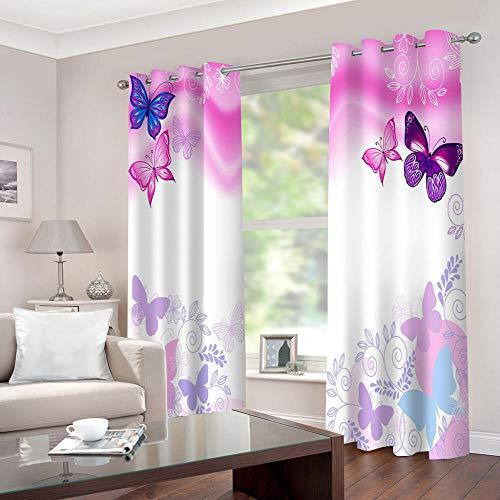 WAFJJ Vorhang Blickdicht Pink & Schmetterling Verdunkelungsvorhang ösen Thermovorhang Gardinen Vorhangschal Vorhang mit Ösen für Wohnzimmer Schlafzimmer Büro Größe:2 x B117 x H138cm