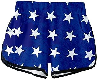 Women's Shorts Summer July 4th American Flag 3D Funny Printed Patriotic Swimwear Running Shorts