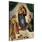 PICANOVA – Raphael – The Sistine Madonna 60x80cm – Cuadro sobre Lienzo – Impresión En Lienzo Montado sobre Marco De Madera (2cm) – Disponible En Varios Tamaños – Colección Arte Clásico