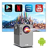 Proiettore, Artlii Play Videoproiettore Wifi Bluetooth Full HD, Android TV 9.0, Mini Proiettore Portatile, Correzione 4D ± 45 °, Home Cinema Netflix, YouTube, Prime Video
