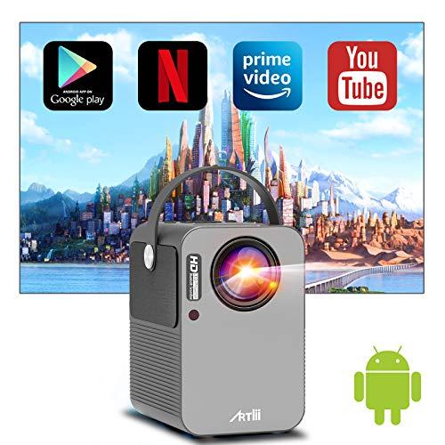 """Proyector WiFi Bluetooth Android TV 9.0, Artlii Play Proyector Portátil, Corrección Keystone 4D de ± 45 ° y Zoom, Altavoces Duales, Cine en Casa de 150 """""""