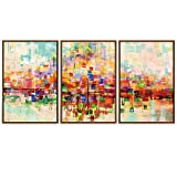 SIGNWIN Framed Canvas Wall Art Bright neon Color Buildings Block with Reflection Places Cityscape Oil Painting Abstract Modern Panoramic Colorful for Living Room, Bedroom, Office - 16'x24'x3 Panels
