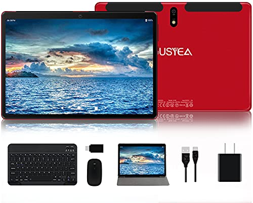 Tablet 10.1 inch Android 10.0 JUSYEA J5-W Tablets Ultra-Portable- RAM 4GB | 64GB Expandable -8000mAh Battery - WiFi —Mouse | Keyboard and More -Red
