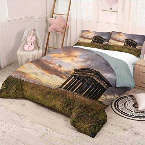 Antique Bedding 3-Piece Full Bed Sheets Set, Bedding Set All Season Quilt Set Greek Monument Rural Land Lightweight - Full 80'x90'