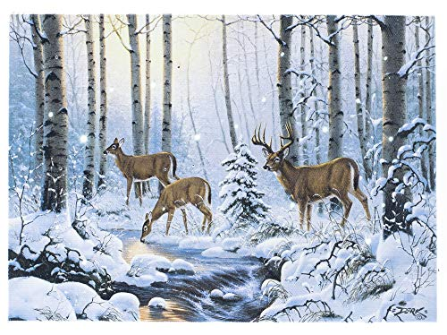Oak Street Deer Darlings Winter LED Art 8'x6' Tabletop Canvas Light up Picture 6 Hour Timer