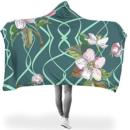 O2ECH-8 Plant bloem grafisch design zwarte deken sherpa zacht warme robe met capuchon - plant draagbare deken geschikt voor lunchpauze