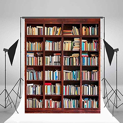 3x5ft Lfeey Vinyl Photography Background Backdrops Bookshelf Bookcase Various Book Collection School Students Abstract Portrait Personal Home House Study Room Decor Studio Photo Props 1x1.5m