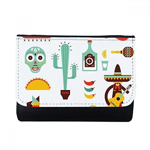 DIYthinker Sombrero Cactus Tequila Gitarre Chili Mexiko Kultur Elment Multifunktions-Leder-Mappen-Karten-Geldbeutel-Geschenk Mehrfarbig