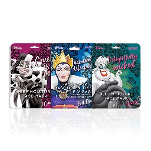 MAD Beauty Mascarilla Hidratante Facial de las Villanas Disney, Cruella, Úrsula y la Madrastra de Blancanieves, Multicolor, Coco, 3 Unidad