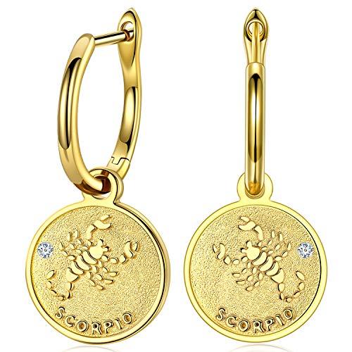 FANCI Regalos Pendientes Mujer Plata de Ley 925 Pendientes Colgantes Escorpio Signos Swarovski Moneda Regalos para Mujer Regalos para Mama