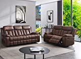 Betsy Furniture New Microfiber Fabric Recliner Set Living Room Set in Brown, Sofa Loveseat Chair Pillow Top Backrest and Armrests 8028 (Living Room Set 3+2)