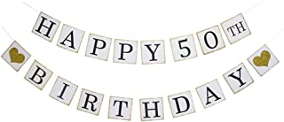 Happy 50th Birthday Banner - Gold Glitter Heart for 50 Years Birthday Party Decoration Bunting White