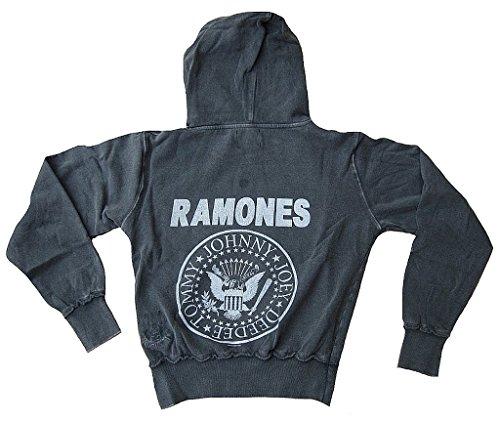 Amplified Damen Lady Sweatshirt Hoody Hoodie Sweater Kaputzen Pulli Shirt Grau Stonewash Gray Official The Ramones Merchandise Hey Ho Let's Go Vintage Rock Star VIP Rockstar Design M 40