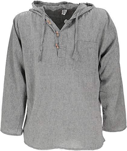 GURU SHOP Nepal Hemd, Goa Hippie Sweatshirt, Yogashirt, Schlupfhemd mit Kapuze, Herren, Grau, Baumwolle, Size:XL, Hemden Alternative Bekleidung