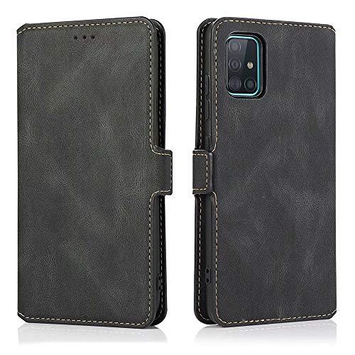 LCHULLE Handyhülle für Samsung Galaxy S10 Lite/A91 Hülle Lederhülle Premium Leder Flip Hülle Cover Standfunktion Schutzhülle Tasche Kartenfach Leder Brieftasche Klapphülle Schwarz