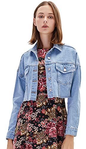Womens Button Down Cropped Blue Denim Jacket
