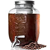 Cold Brew Coffee Maker 1 Gallon, Cold-Brew Maker with Stainless Steel Spigot and Removable Mesh Filter,Cold Brew Pitcher with Extra Thick Glass Carafe, Large Cold Brew Container for Coffee or Tea