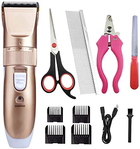 Dogs and Cats Grooming Clippers Professional Cats Grooming Kit Low Noise Quiet Rechargeable Pet Hair Trimmer Best Shaver with Scissors Combs
