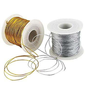 WFPLUS 2 Pack 200m/656ft 1mm Metallic Cord Metallic Tinsel Cord Rope Craft Making String for Gift Wrapping Jewelry Making Hair Braiding Gold and Silver