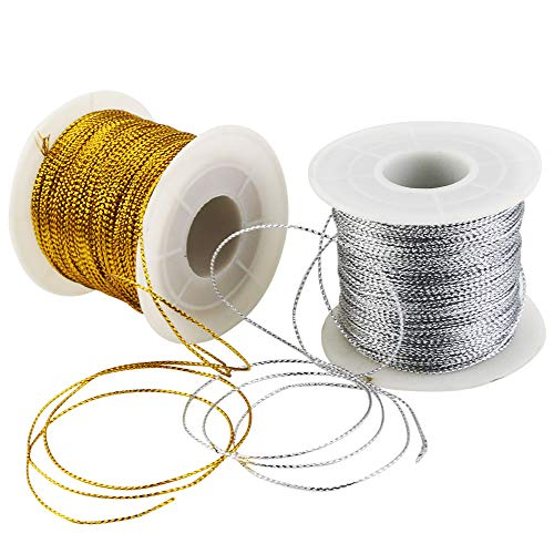 WFPLUS 2 Pack 200m/656ft 1mm Metallic Cord Metallic Tinsel Cord Rope Craft...