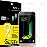 NEW'C Lot de 2, Verre Trempé pour Samsung Galaxy J3 2016 Film Protection écran - Anti Rayures - sans Bulles d'air -Ultra Résistant (0,33mm HD Ultra Transparent) Dureté 9H Glass