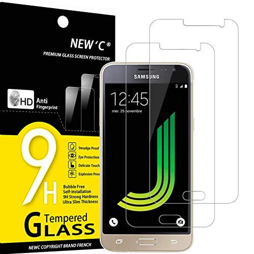NEW'C 2 Unidades, Protector de Pantalla para Samsung Galaxy J3 2016, Antiarañazos, Antihuellas, Sin Burbujas, Dureza 9H, 0.33 mm Ultra Transparente, Vidrio Templado Ultra Resistente