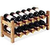 COSTWAY Wine Rack, Bamboo 12 Bottles 2-Tier Wine Display Rack for Countertop Home Kitchen Pantry, Free Standing Wine Storage, Rack Tabletop Wine Rack (Bamboo)