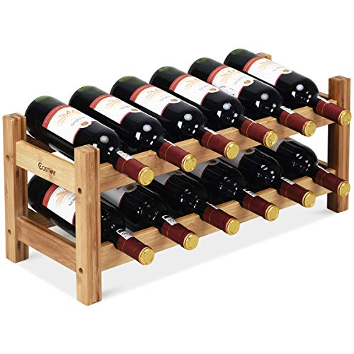 COSTWAY Wine Rack, Bamboo 12 Bottles 2-Tier Wine Display Rack for Countertop Home Kitchen Pantry, Free Standing Wine Storage, Rack Tabletop Wine Rack (Nature)