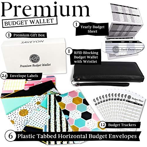 Slim Budget Envelopes Wallet - 6 Horizontal Tabbed Cash Envelopes, All-in-One Cash Envelope System Wallet, Coupon Organizer, RFID Blocking Monthly Bill Organizer, Compact Budget Planner Organizer
