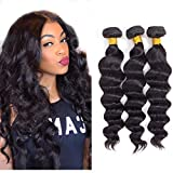 Loose Wave Bundles Human Hair - Brazilian Virgin Hair Loose Deep Wave Bundles Human Hair Bundles Weave Hair Human Bundles Natural Black Color (10 12 14)