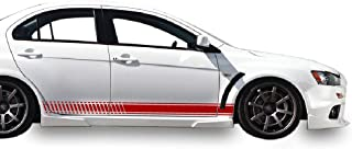 Bubbles Designs Set of Racing Side Stripes Decal Sticker Graphic Compatible with Mitsubishi Lancer Evolution 10 X 2007-2016