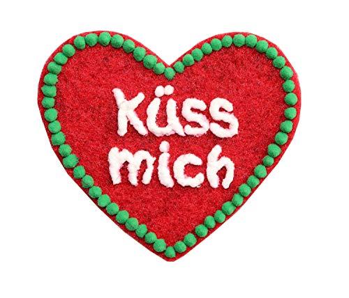 Anstecker Filzherz Küss mich für Junggesellinnenabschied Junggesellenabschied Oktoberfest Dirndl Accessoires mit Namen - Namensschild Herz personalisiert Button Brosche Ansteckbutton