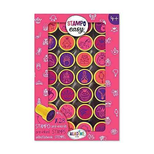 Aladine - Stampo Easy Princesses - Kit de Tampons Pré-encrés Couleur - Jouets et Jeux Créatifs - Boîte de 28 Tampons Encrés - Dès 4 ans