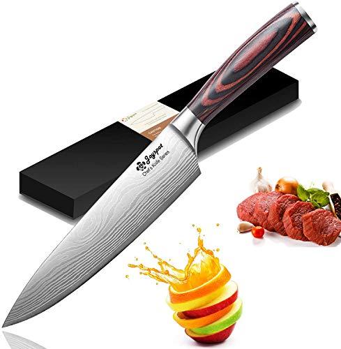 Coltello da cucina, Coltello da chef professionale da 8 pollici Joyspot con lama affilata tedesca in acciaio al carbonio e lama ergonomica