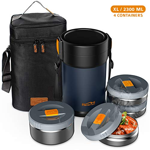 Home Puff Contigo-XL Lunch Box Stainless Steel Vacuum Insulated with Bag, 2.3L, 4 Containers, Blue