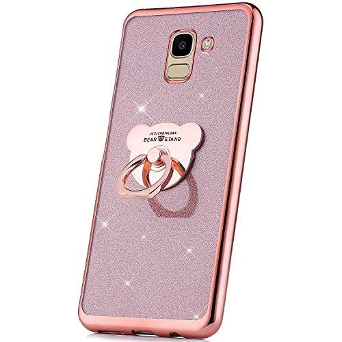 JAWSEU Bling Glitter Zacht TPU Siliconen Hoesje met Ring Compatibel met Samsung Galaxy J6 2018 Bling Ros�goud