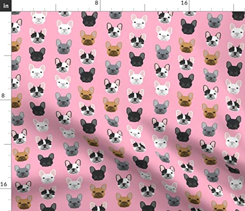 Spoonflower Fabric - Frenchie Dogs Pink Faces Cute Head Girls French Bulldogs Girly Bulldog Printed on Denim Fabric by The Yard - Bottomweight Apparel Home Decor Upholstery