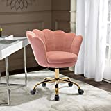 Goujxcy Office Chair, Swivel Upholstered Velvet Fabric Padded Seat Shell Backrest Computer Chair, Vanity Chair for Living Room Bedroom (Pink/Gold)