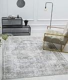 the carpet Zen - Alfombra clásica vintage para salón, aspecto desgastado, superplana, lavable hasta 30 grados, parte trasera de algodón, diseño oriental, color gris y marrón, 200 x 290 cm