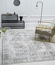 the carpet Zen - Alfombra clásica vintage para salón, aspecto desgastado, superplana, lavable hasta 30 grados, parte trasera de algodón, diseño oriental, color gris y marrón, 160 x 230 cm