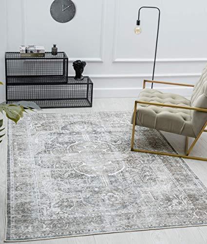 the carpet Zen Klassicher Vintage Wohnzimmer Teppich im Modernen Used Look, Superflach, Waschbar bis 30 Grad, Baumwollrücken, Orient Muster, Grau Braun, 120 x 170 cm