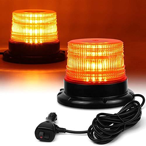 Luces de Advertencia Seguridad para automóviles, luz estroboscópica LED, 12 V-24 V ámbar 40 Luces LED Advertencia Intermitentes Seguridad con magnético y Cable Recto 16 pies