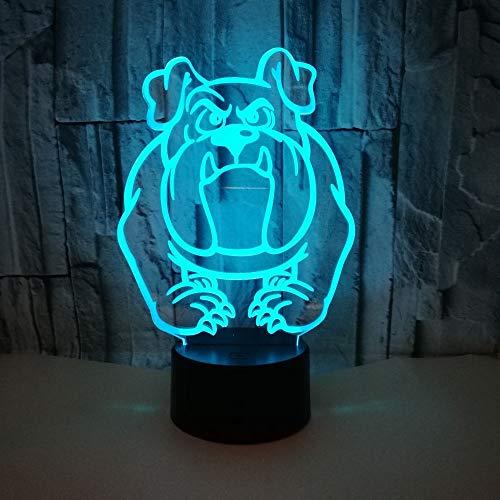 Bulldog Möpse Hund e 3D LED Nachtlicht USB Tischlampe Kinder Geburtstag Geschenk Nachtdekoration am Bett