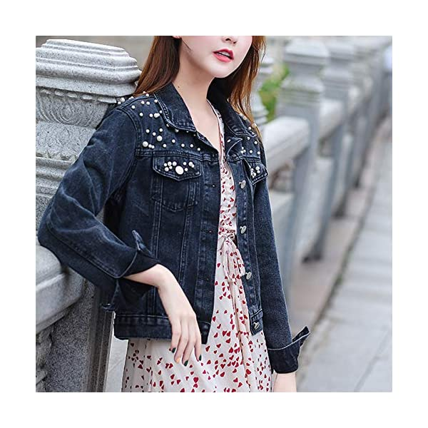 Ainangua Women's Casual Embroidered Pearls Beading Denim Jacket Loose Washed Jean Coat