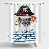 Aliyz Pirate Duschvorhang Sets für Kinder, Strauß in Pirate Skull Hat auf blauen Streifen Hintergr& Badezimmer Dekorationen, maschinenwaschbar, 72 x 72 Zoll für Standard Badewanne